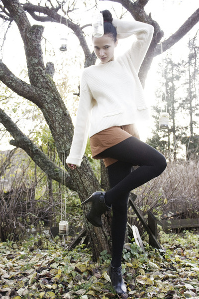black booties GoJane shoes - white knit Pixie Knitwear sweater