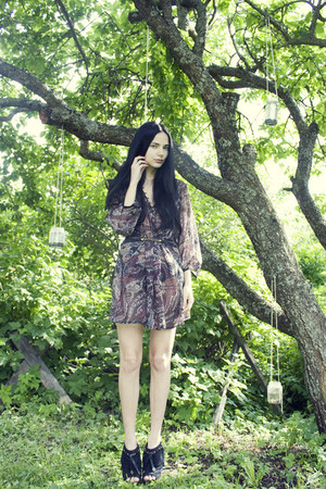 black fringe Jessica Simpson shoes - purple sheer tunic Cubus dress - black worn