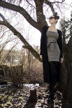 periwinkle knit DIY dress - black pump Nine West shoes - black random tights