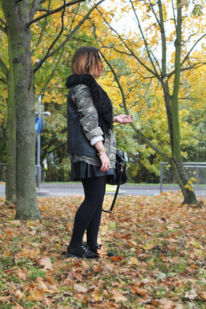 camouflage Topshop jacket - leather charity shop jacket