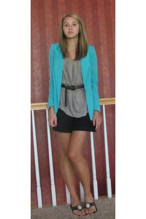blue Silence & Noise blazer - black Nordstrom shorts - beige Nordstrom top - bla