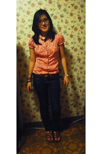 red Zara blouse - blue Mango jeans - brown vintage from dad belt