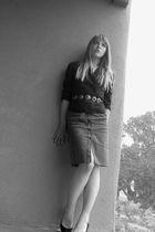 black Karen Scott shoes - black banana republic blazer - black handmade belt - g