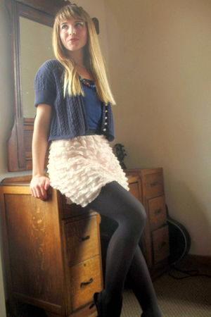 black tights - pink xhilaration skirt - blue unknown cardigan - blue merona top