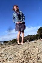 blue Amethyst jacket - purple hand-dyed scarf - black Karen Scott shoes - silver
