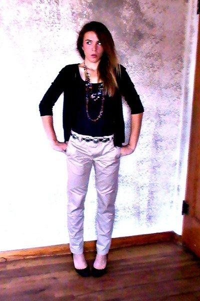 beige Target pants - black Target cardigan - brick red vintage necklace