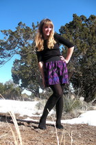 black shirt - black tights - black Target shoes - purple Forever21 skirt