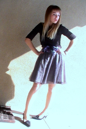 black shirt - black shoes - silver Isaac Mizrahi for Target skirt - purple hand-