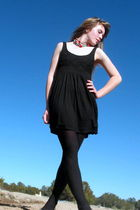 black Forever 21 dress - red handmade necklace - black George tights - black xhi
