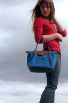 blue longchamp purse - red faded glory shirt - blue Levis jeans - red handmade n