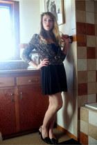 black Forever 21 dress - pink DressBarn cardigan - black shoes - blue thrifted b