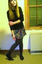 black shoes - black tights - black shirt - green Forever21 skirt