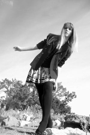 black Jones New York blazer - black tights - black shoes - gray Forever 21 skirt
