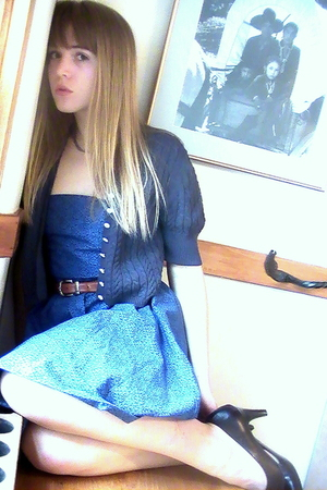 blue navy none cardigan - brown dark George shoes - blue handmade dress