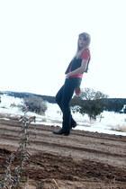 red Ralph Lauren t-shirt - brown Cowboy boots - blue Levis jeans - black Alice T