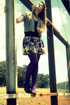 purple Wet Seal tights - black Steve Madden shoes - purple Rue 21 skirt - gray H