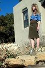 Blue-charter-club-blouse-green-weekend-by-maxmara-skirt-black-karen-scott-sh