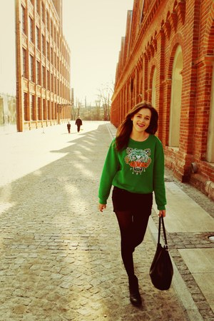 green tiger Kenzo sweatshirt - leather pull&bear boots - Mango bag