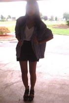 black moms closet jacket - black Macys shorts - white Forever 21 t-shirt
