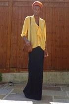maxi H&M dress - woven Primark bag - pussybow sheer Miss Selfridge blouse