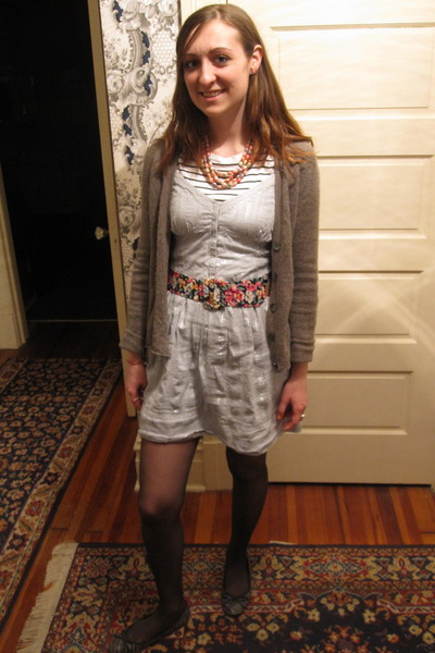 Salvation Army dress - Ralph Lauren shirt - thrifted belt - Goodwill cardigan -