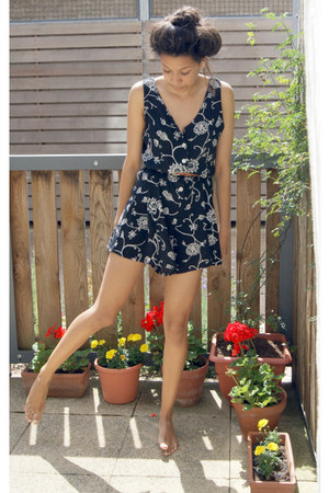 navy floral thrifted romper - tawny belt