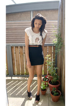 white Independant brand top - tawny Primark belt - black tube thrifted skirt - b