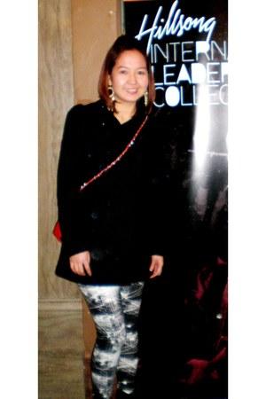 black H&M boots - black H&M coat - black print mix H&M leggings - red Aldo bag -