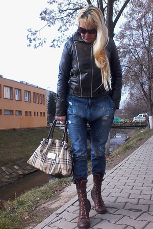 Chie Mihara boots - Only jeans - Just Cavalli jacket - Burberry bag