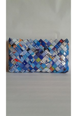 blue paper bag bag