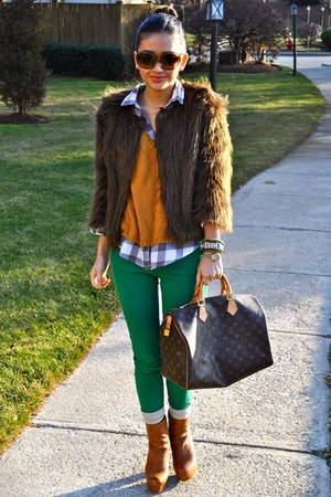 dark brown Urban Outfitters jacket - burnt orange Steve Madden boots