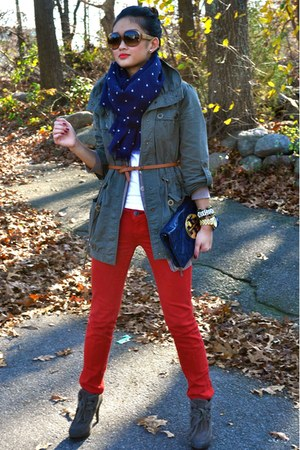 army green Nordstrom jacket - navy JCrew scarf - navy tory burch bag