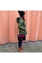 H&M hat - Topshop boots - Primark coat - tartan satchel Beara Beara bag