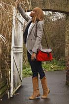 suede dune boots - black Gap jeans - check Gap blazer - Beara Beara bag