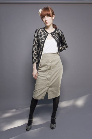 black Odille by Anthropologie cardigan - beige Elie Tahari skirt - gray vintage