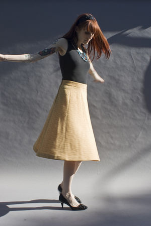yellow vintage skirt - black vintage shoes