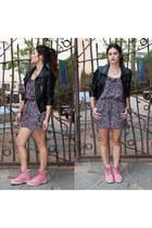 leather jacket H&M jacket - boots Timberlands shoes - romper Forever 21 dress