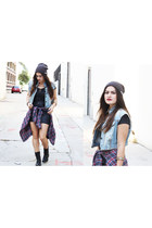 flannel Forever 21 jacket - combat boots Steve Madden boots - beanie neff hat