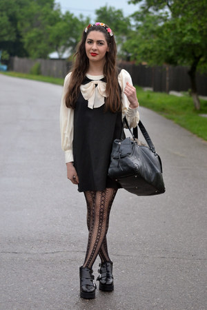 H&M boots - River Island dress - River Island shirt - Zara bag