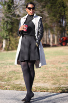 black BCBG coat - black mock neck Zara shirt