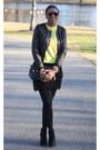 Booties-schutz-boots-black-acne-jacket-yellow-jcrew-sweater