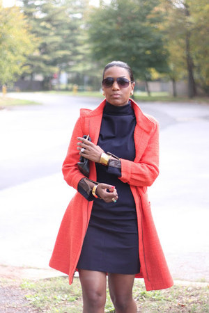 bright orange Tibi coat - Ralph Lauren dress - clutch JJ Winters bag
