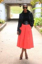 salmon midi circle DIY skirt - black leather acne jacket