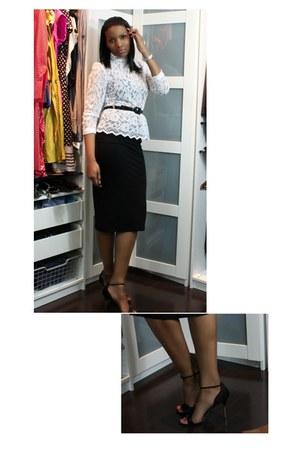 peplum lace balenciaga top - midi asos skirt - Jimmy Choo heels
