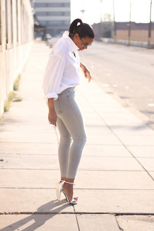 skinny Habitual jeans - mens banana republic shirt - cape Alexander Wang heels