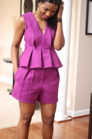 amethyst peplum DIY top - Gucci bag - DIY shorts - peep toe Gianvito Rossi heels