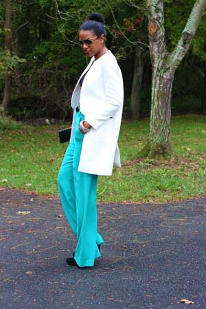 white waist Zara coat - turquoise blue wide leg Alice & Olivia pants