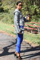bell sleeve DIY sweater - waxed skinny J Brand jeans - vintage clutch Fendi bag