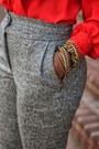 Heather-gray-high-waisted-diy-pants-red-oscar-de-la-renta-blouse