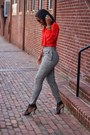 Heather-gray-high-waisted-diy-pants-red-oscar-de-la-renta-blouse
